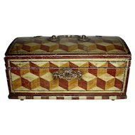 Small 19th C. Paint Decorated Dometop Box w/ Tumbling Block Decoration