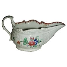 Small Decorated English Porcelain Gravy, Mid-18th Century