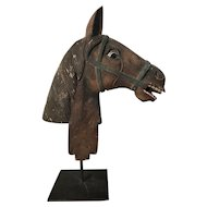 Carved Wooden Horse Head w/ Original Surface, c. 1900