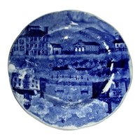 American Historical Staffordshire Cup Plate: Winter View of Pittsfield, Double Transfer Variety, c. 1825