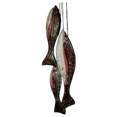 String of 3 Carved Painted Wooden Fish (Trout), c. 1950