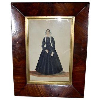 Mid-19th Century Watercolor & Gouache of a Woman Holding a Book