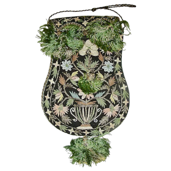 Extremely Fine Embroidered Purse, c. 1895