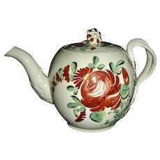 English Creamware Teapot w/ King's Rose Decoration, c. 1780