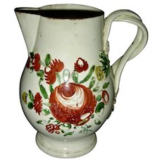 English Creamware Cream Jug w/ King's Rose Decoration, c. 1780