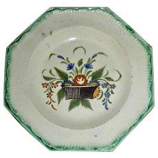 "5"" English Green Shell Edge Creamware Octagonal Plate w/ Flower Basket Decoration, c. 1780"
