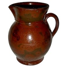 New England Redware Pitcher w/ Manganese Decoration, c. 1850