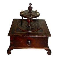 Inlaid Mahogany 1-Drawer Sewing Box (Spool Holder), 19th Century