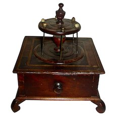 Inlaid Mahogany 1-Drawer Sewing Box (Spool Holder), 19th Century