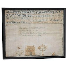 1839 Connecticut House Sampler by Elizabeth Yale of Canaan