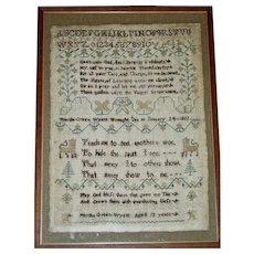 1822 English Sampler by Martha Green Wyett