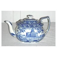 American Historical Staffordshire Teapot ~ Boston State House by Rogers, c. 1830