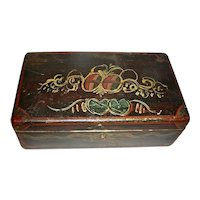 Grain-Painted Decorated Dovetailed Dresser Box w/ Hearts