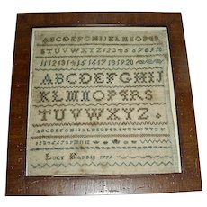 1799 Miniature Sampler by Lucy Harris