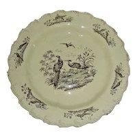 "8 ½"" Shell Edge Creamware Plate: Exotic Birds, c. 1780"