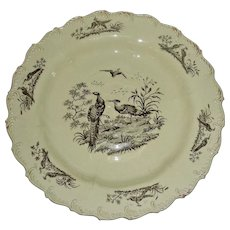 "8 ½"" Shell Edge Creamware Plate: Exotic Birds, c. 1780"