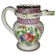 Pink Lustre Puzzle Jug w/ Flowers, 1842