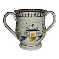 Small 2-Handled Pratt Decorated Pearlware Loving Cup, c. 1810
