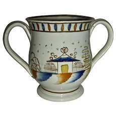 Small 2-Handled Pratt Decorated Pearlware Loving Cup, c. 1810