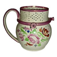 English Pink Lustre Puzzle Jug w/ Underglaze Flowers, c. 1835
