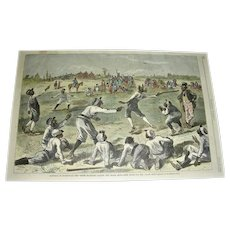Hand-Colored 1878 Harper's Weekly Print of Black Baseball Teams