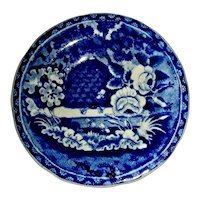 """3 ½"""" Dark Blue Staffordshire Cup Plate: Beehive Pattern"""