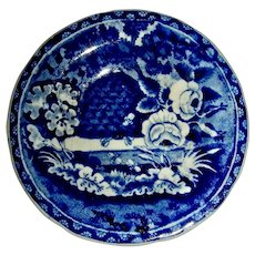 "3 ½"" Dark Blue Staffordshire Cup Plate: Beehive Pattern"