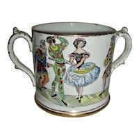 Large Loving Cup w/ Harlequin & Columbine, c. 1860
