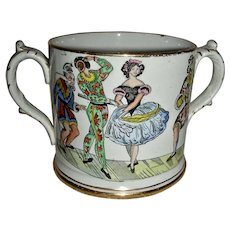 Large Loving Cup w/ Harlequin & Columbine, c. 1860