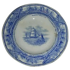 American Marine Historical Staffordshire Cup Plate w/ Blue Transfer
