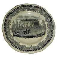 American Historical Staffordshire Cup Plate: University Hall, Harvard, c. 1835
