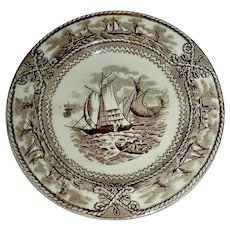 American Marine Historical Staffordshire Cup Plate w/ Brown Transfer