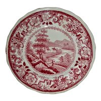 American Historical Staffordshire Cup Plate: Near Sandy Hill, Hudson River