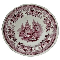 American Historical Staffordshire Cup Plate: Newburgh, NY, c. 1835