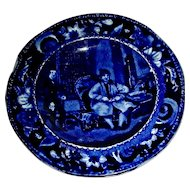 "Dark Blue Staffordshire Cup Plate: ""Letter of Introduction"" Wilkie's Designs, c. 1825"