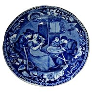 "Dark Blue Staffordshire Cup Plate: ""Christmas Eve"" Wilkie's Designs, c. 1825"
