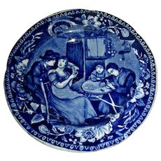 """Dark Blue Staffordshire Cup Plate: """"Christmas Eve"""" Wilkie's Designs, c. 1825"""