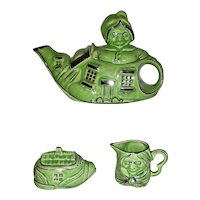 "Lingard Pottery Tea Set: ""Old Lady Living in a Shoe"", early 20th C"