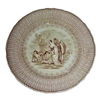 "Brown Transfer Staffordshire Plate: ""Beauties"" c. 1840"