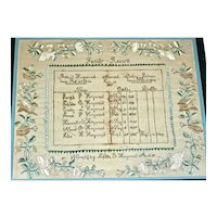 American Needlework Family Register: Heywood Family, Winchendon, MA, c. 1833