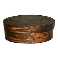 """4 ¾"""" Oval 2 Finger Box w/ Original Grain Paint"""