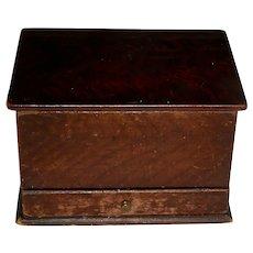 Miniature Grain Painted Lift-Lid Box w/Drawer, c. 1860