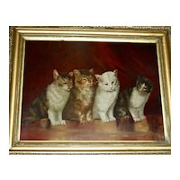 Cat Painting: 4 Kittens, Late 19th Century