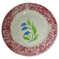 Red Spatterware Cup Plate w/ Bluebell Flowers, c. 1830