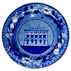 "American Historical Staffordshire Cup Plate: ""Holliday Street Theatre, Baltimore"""