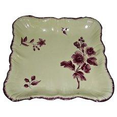 Delicate English Creamware Dessert Dish w/ Purple (Puce) Floral Decoration, c. 1790