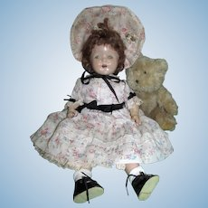 """Very Sweet 17"""" Composition and Cloth Doll with Tin Eyes in Dress and Bonnet Outfit!!"""