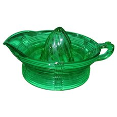 Vintage Green Depression Glass Orange Juicer!