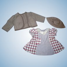 Complete 3 Piece 1930's Composition Doll Outfit!