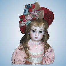 Vintage Cranberry Red Ruched Hat with Dried Flowers for your French Jumeau and other dolls!